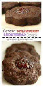 Chocolate Strawberry Shortbread Cookies
