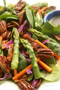 Spinach Salad with Aspargus and Maple Pecans