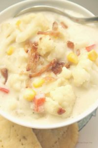 Roasted Cauliflower Corn Chowder