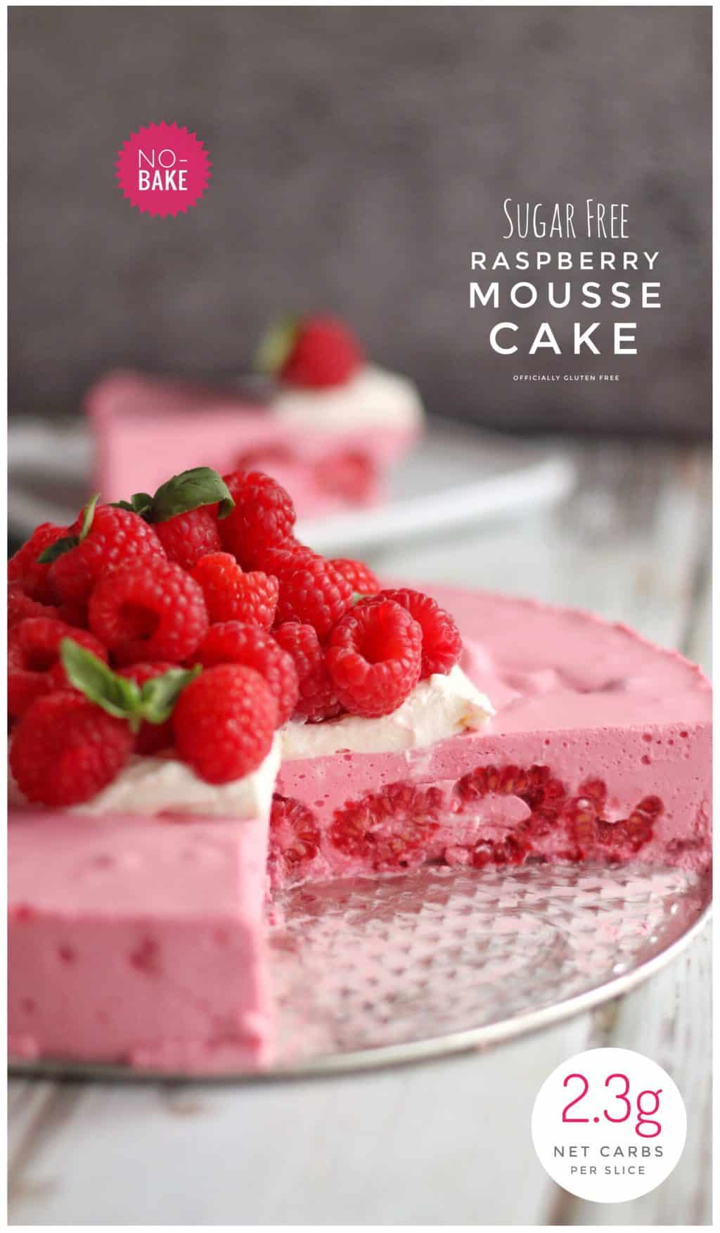 This recipe makes 12 Slices of No-Bake Sugar Free Raspberry Mousse Cake.
