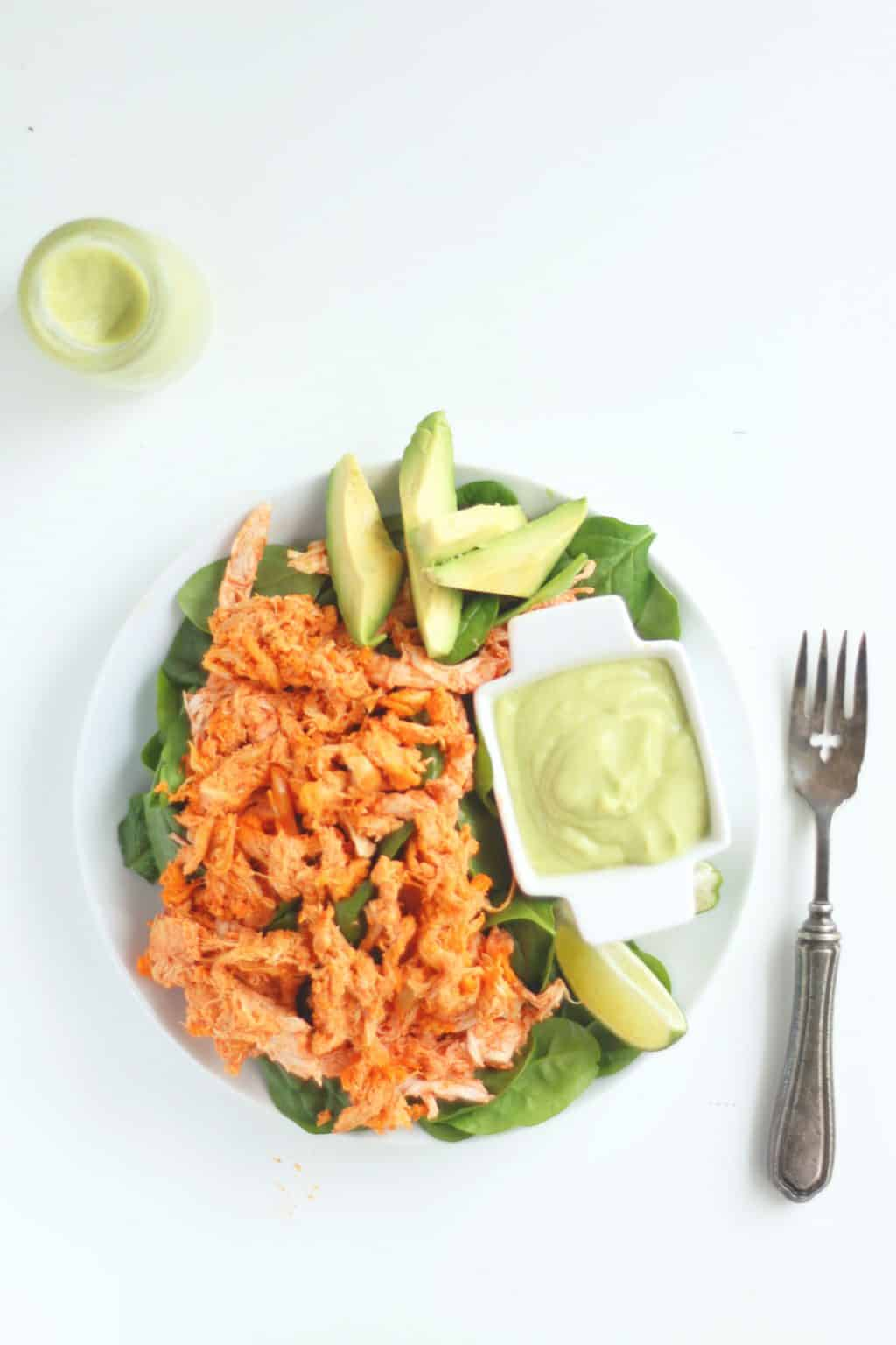 Buffalo Chicken Salad With Avocado Lime Dressing