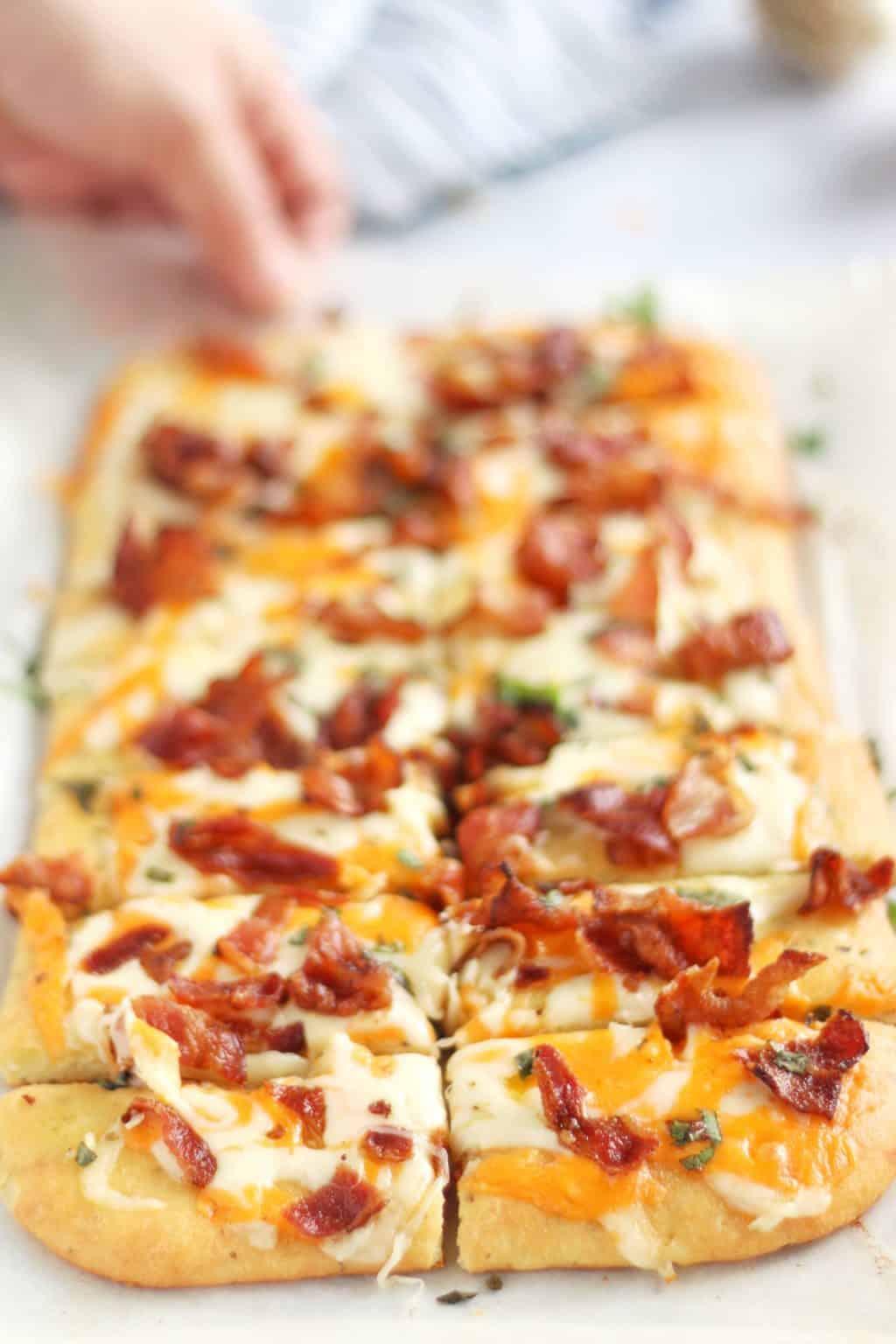 Keto Cheesy Bacon Garlic Bread
