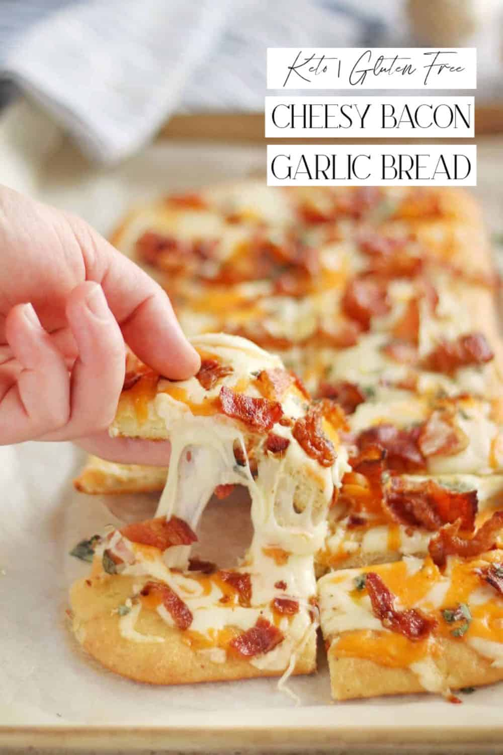 Keto Cheesy Bacon Garlic Bread