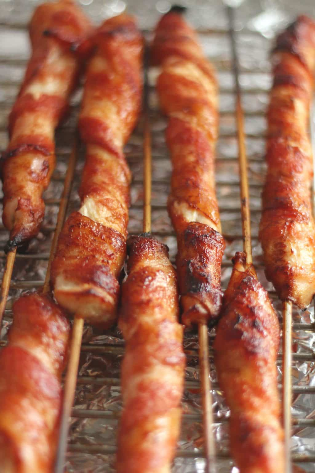 Bacon Wrapped Chicken Skewers